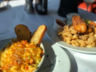 Left: Lobster Mac & Cheese Right: Fried Seafood Platter